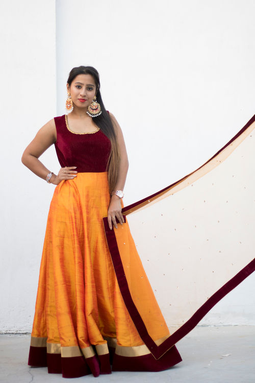 Mustard Yellow and Maroon Anarkali