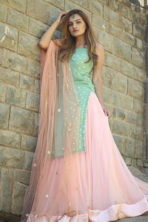 Powder Mint & Pink Kurta and Lehenga set