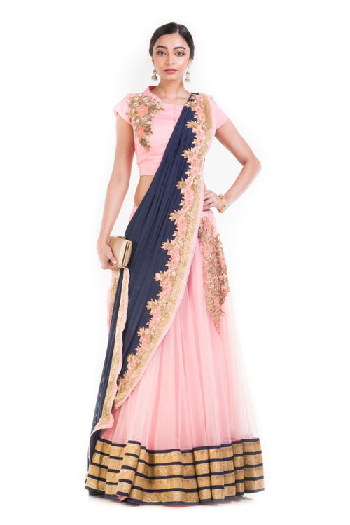 Pink And Blue Lehanga With Attached Dupatta