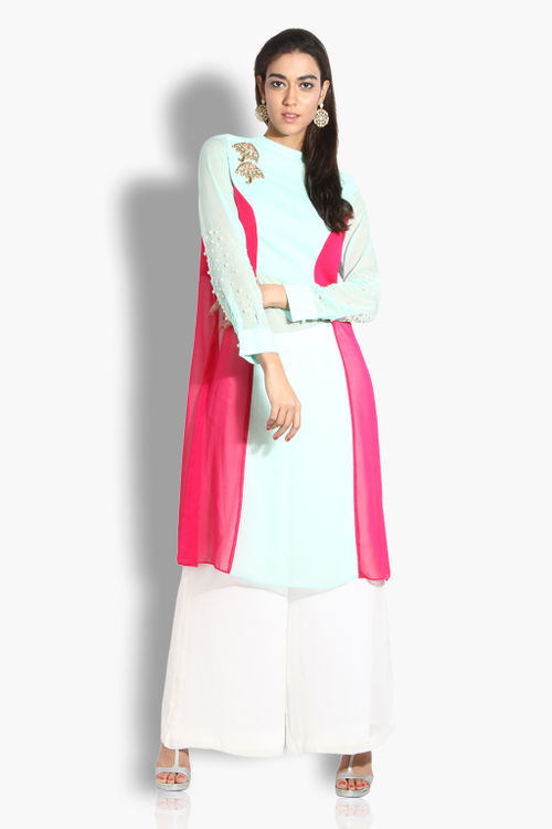Colour Block Kurta with Palazzos