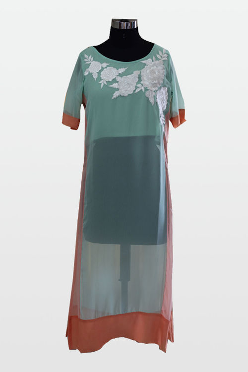 Sea Green and Peach Sheer Kurti