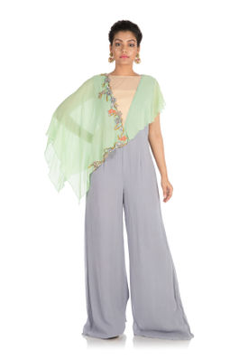 Hand embroidered Jumpsuit with Cape