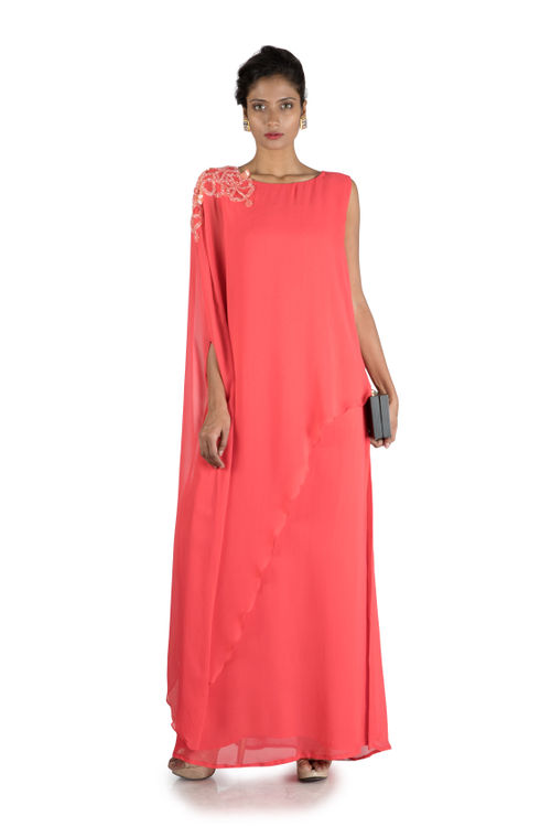Bright Peach Long Cape Tunic