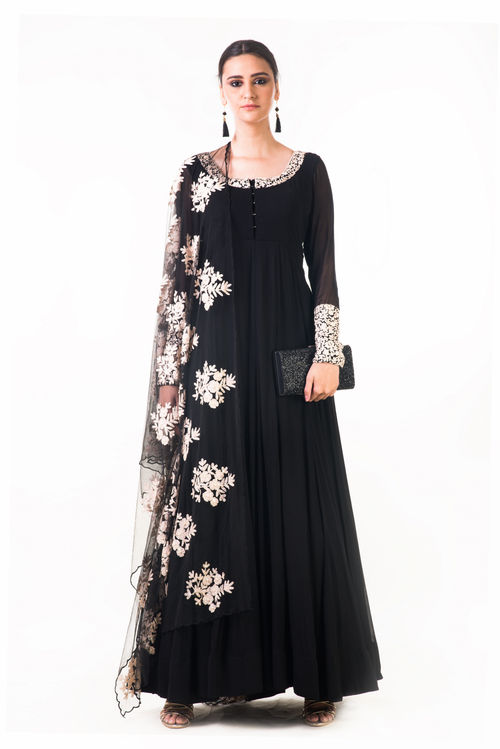 Ari Dress with Ari work net Dupatta