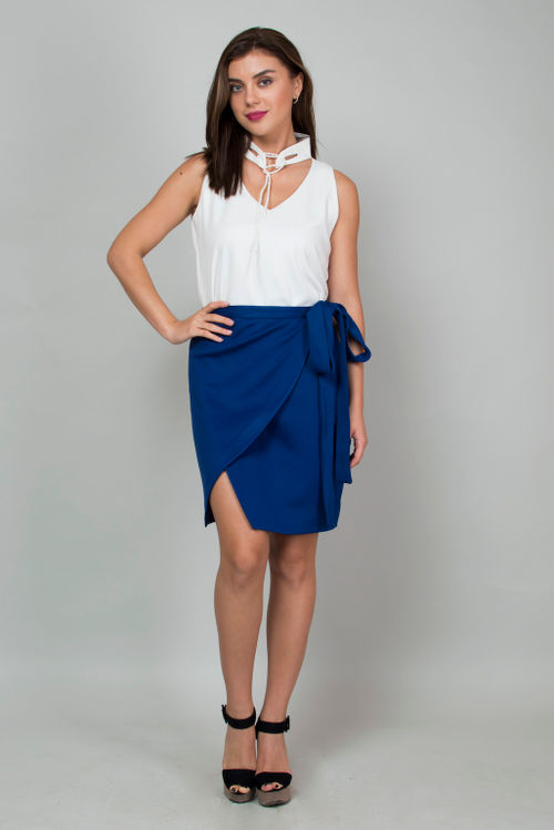 Wrap Around Electric Blue Skirt