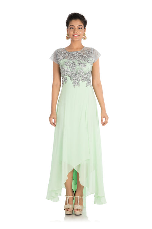 Hand Embroidered Overlay Asymmetric Gown