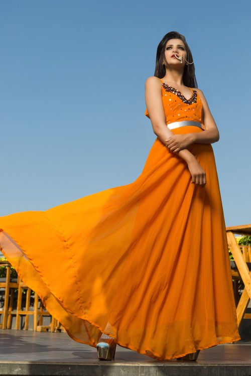 Tangerine Sequinned Gown