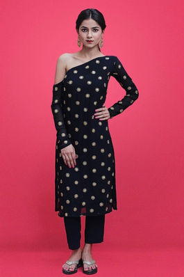 Embellished Navy Blue Kurti Set
