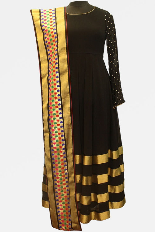 Black and Gold Georgette Anarkali