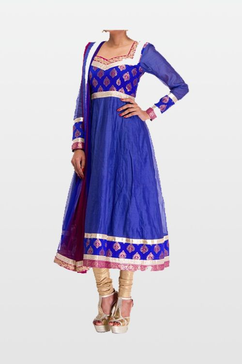Blue Raw Silk Anarkali Dress