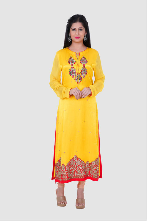 Pure Gajji Silk Kurti with booti hand embroidery