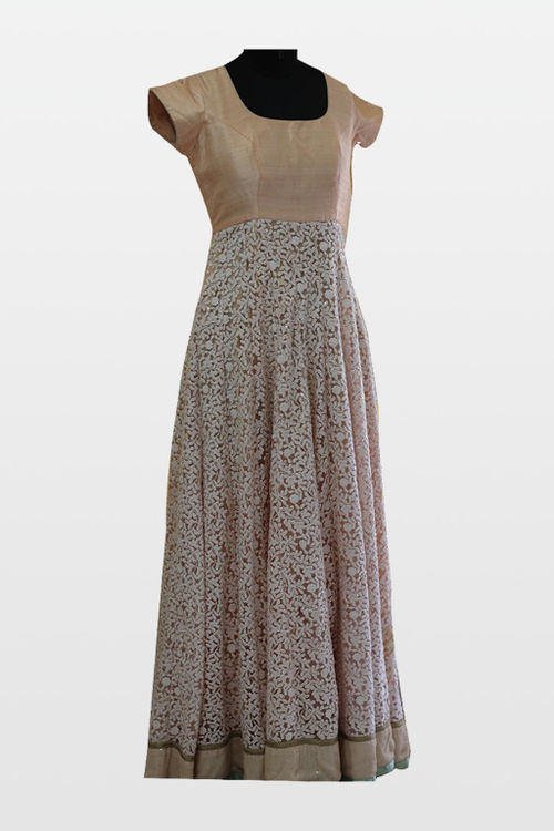 Peach Gown in Embroidered Net