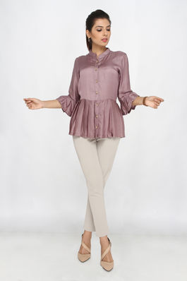 Satin Silk Bell Pleated Shirt