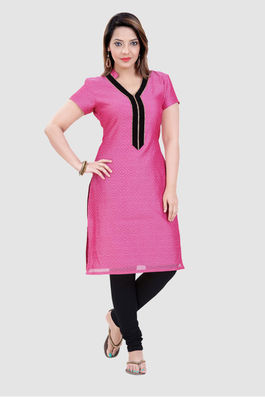 Pink Chanderi with black velvet lace