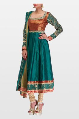 Rama Colour Silk Anarkali Dress