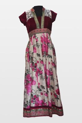 Velvet and Floral Raw Silk Gown
