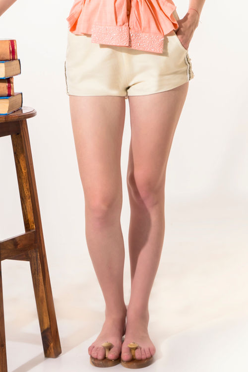 Off White Embroidery Shorts