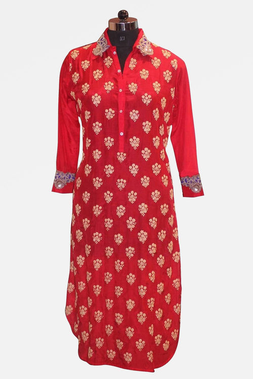 Red and Blue Kurti with intricate hand work