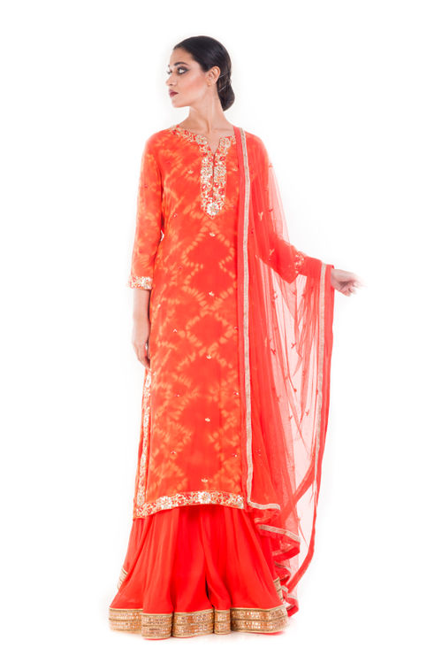 Tangerine Gold Embellished Sharara Set