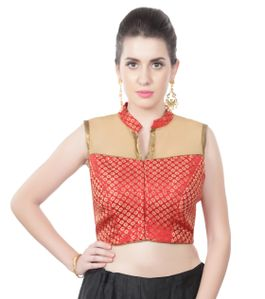 Collared red brocade blouse with shimmer net