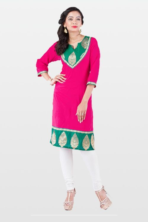 Rani Pink and Green Cotton Kurti