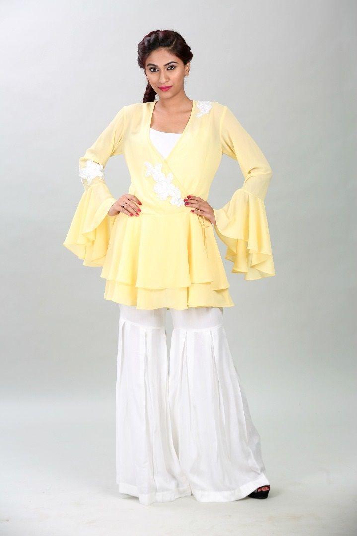 Layered tunic with pleated trouser