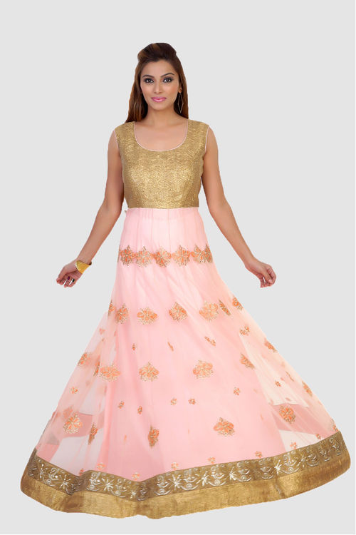 Gold and Peach Anarkali Kurta in gota