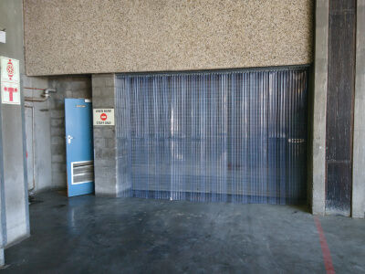 strip curtains at low door opening