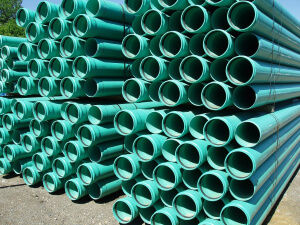 Stack of pvc pipe lengths in stock yard