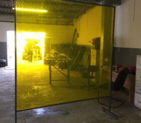 yellow welding curtain