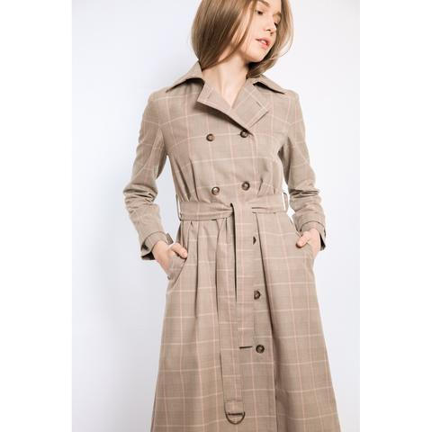 Check cotton trench-coat