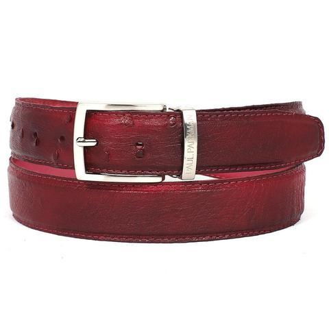 PAUL PARKMAN Men's Burgundy Genuine Ostrich Belt (ID#B04-BUR)
