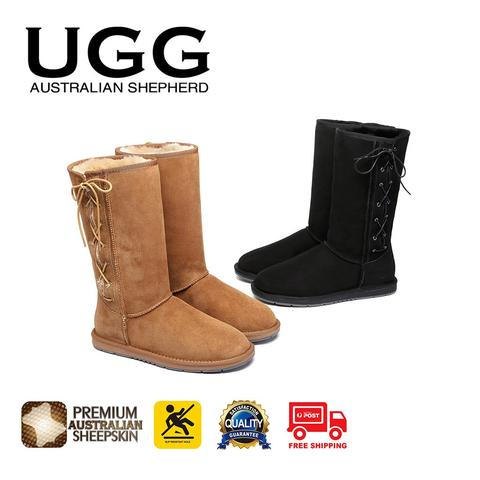 UGG Boots Tall Side Lace Up, Premium Australian Double Faced Sheepskin