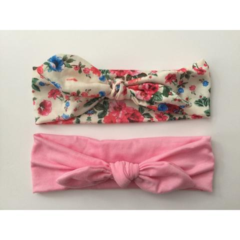 Floral and Pink Knotted Headband Giftset