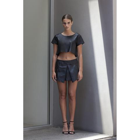 'Beat' Pleated Skirt in Black Lambskin Leather