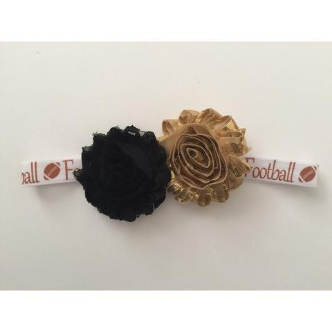 Black and Gold Football Hair Bow and Clip
