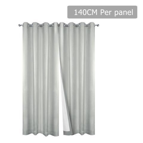 Set of 2 140CM Blockout Eyelet Curtain - Ecru