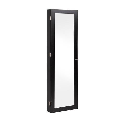 Wall Mount Jewellery Cabinet w/ Mirror Black