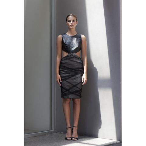 'Future' Ruched Mesh Dress with Lambskin Leather Top