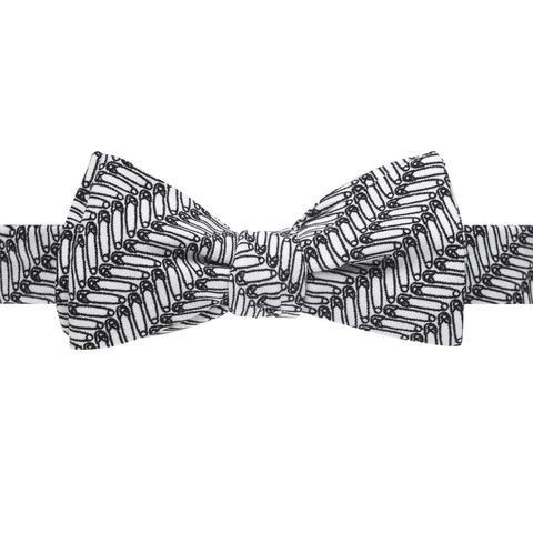 Safety Pin Herringbone Print Bow Tie