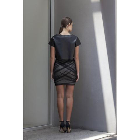 'Fracture' Ruched Mesh Skirt