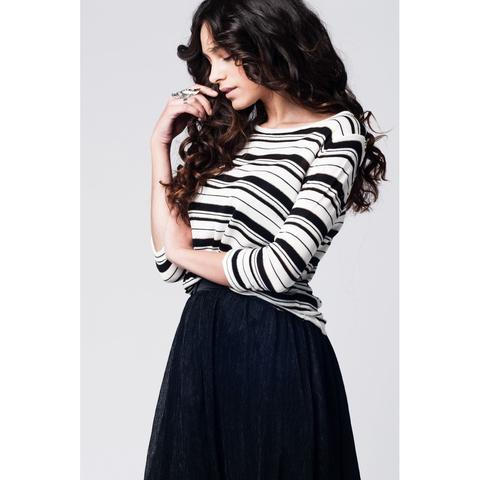 Black striped knit sweater with glitter thread detailing and 3/4 sleeves