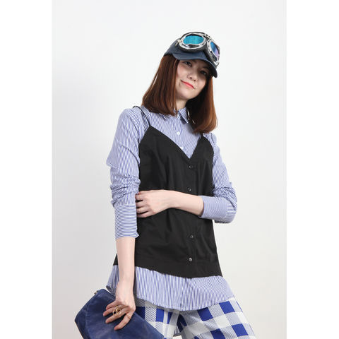 2-In-1 Pinstriped Shirt With Vest Outer