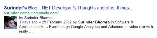 Author information in search results