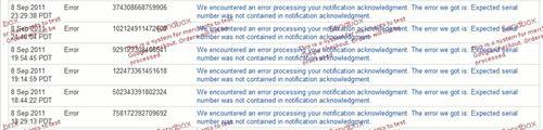 Google Checkout ErrorList