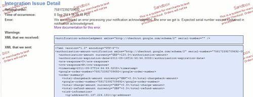 Google Checkout Error XML Detail