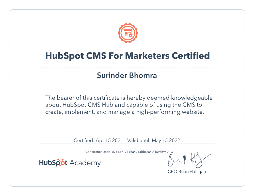 Hubspot CMS for Marketers Certification