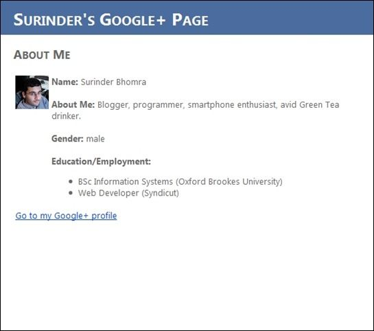 Google Plus Profile Page