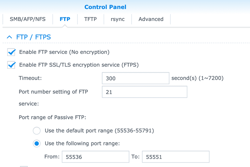 Synology Control Panel - Enable FTP