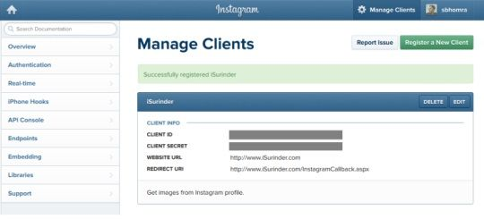 Instagram API - Register New Client